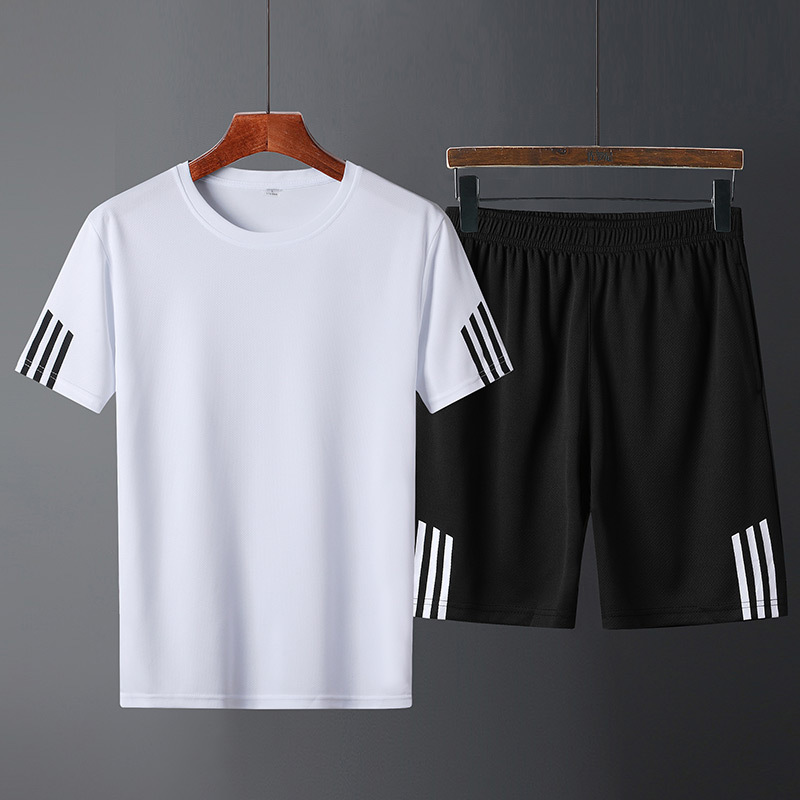 2019 Summer Men Leisure Set Young MEN'S Trend Slim Fit Handsome Thin Jogging Suits Two-Piece Set Sports Clothing