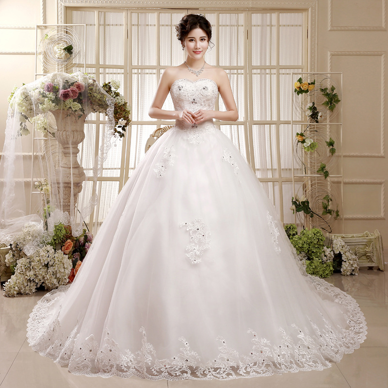 Sexy Sweetheart Lace Up Royal Train A-Line Wedding Dress 2019 Luxury Beaded Appliques Princess Bride Gown Robe De Mariage
