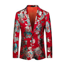 The New Fashion Business High End Men Large Size Dahong Slim Print Gentleman Trend Leisure Fashion Youth British Wind Blazer(China)