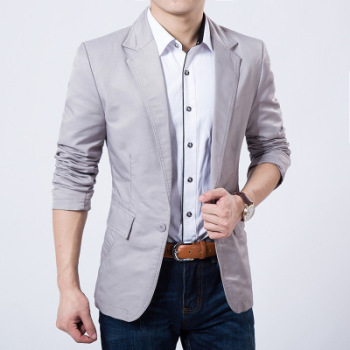 2020 Autumn, New Men's Slim-Fit Cotton Simple blazers Youth Solid Color Casual Small blazers
