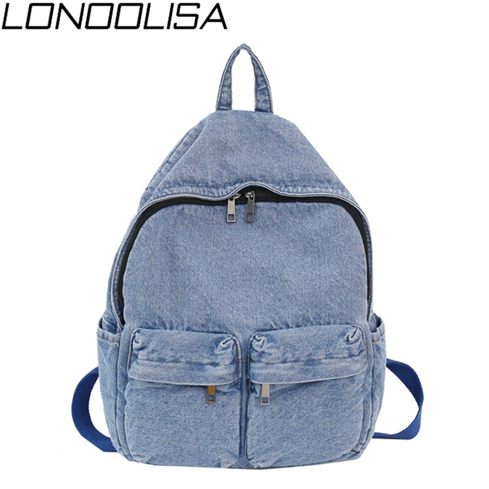 Unisex Fashion Blue Denim Fabric Backpack Large Capacity School Bags For Teenager Girls & Boys Neutral Wind Harajuku Travel Bag