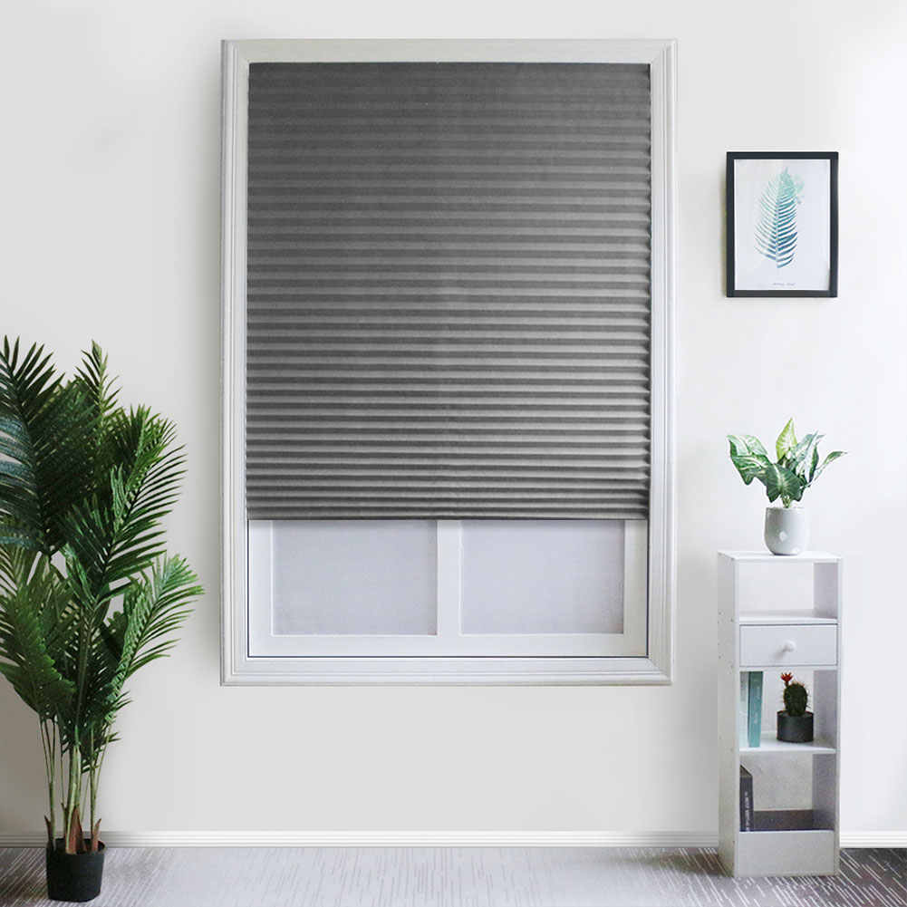Living Room Door Balcony Shades Kitchen Office Pleated Blind Bathroom Self Adhesive Windows Half Blackout Home Decoration Coffee
