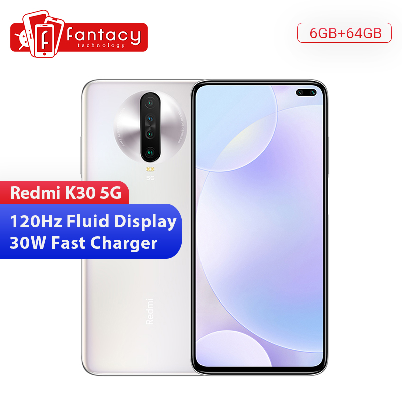 "Original Xiaomi Redmi K30 5G 6GB 64GB Smartphone Snapdragon 730G Octa Core 6.67"" 64MP Quad Camera 4500mAh 120HZ Fluid Display"