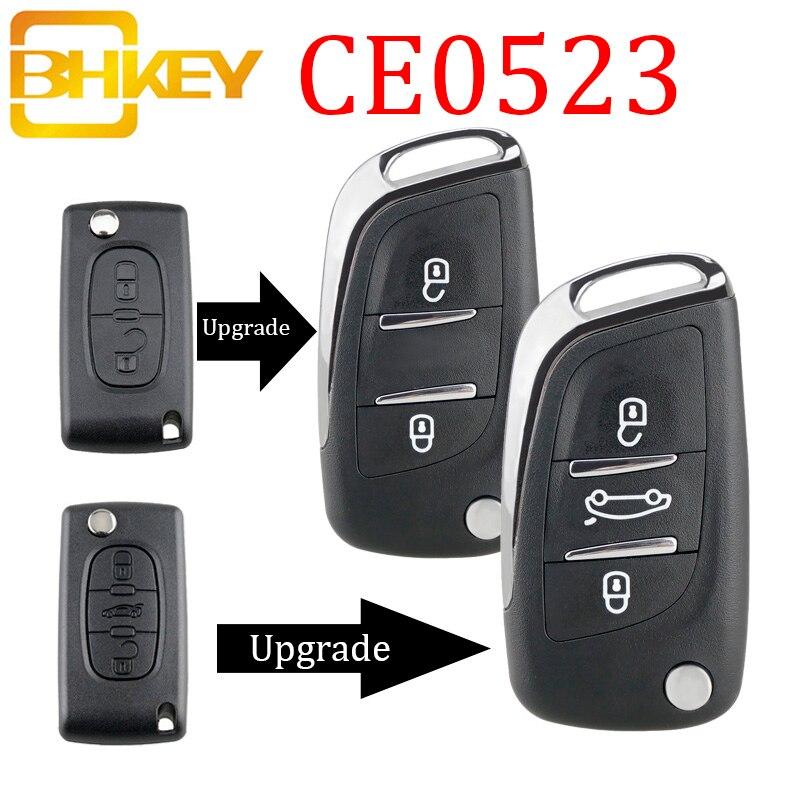 BHKEY CE0523 Modified Flip Folding Key Shell For Peugeot 306 407 807 Partner Remote VA2/HU83