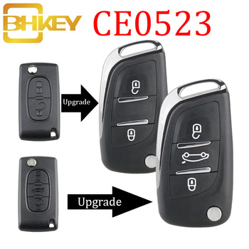 BHKEY CE0523 Modified Flip Folding Key Shell For Peugeot 306 407 807 Partner Remote VA2/HU83 Blade Entry Fob Case 2/3 Button 2 button flip remote key fob case shell blade keychain for peugeot 207 307 308