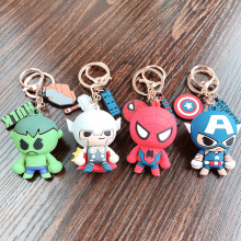 Creative Captain America Keychains Cartoon Character Captain America Iron Man Key Chain Men And Women's Bags Silicone Key Ring