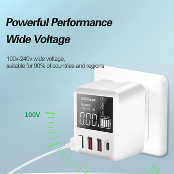 Type C QC3.0 USB 4 Ports Wall Charger Station For iPhone Xiaomi Huawei Samsung 30/40W Quick Charge Mobile Phone Adapter