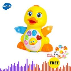 HOLA, 808, музыкальная игрушка с желтой уткой, обучающая игрушка для детей 1 года, подарок на Рождество для маленьких девочек и мальчиков