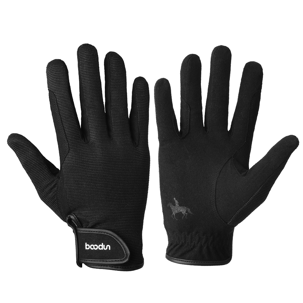 Профессиональные перчатки для верховой езды, перчатки для верховой езды для мужчин и женщин, легкие дышащие, для улицы - Цвет: Черный