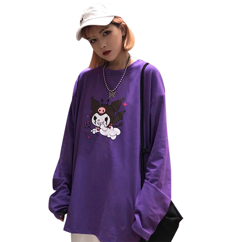 Lychee Trendy Cartoon Demon Print Purple Women T-Shirt Long Sleeve O-Neck Female T Shirt Casual Loose Tee Top