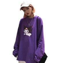 Модная фиолетовая женская футболка Lychee с мультяшным принтом демона, женская футболка с длинным рукавом и круглым вырезом, Повседневная Сво...