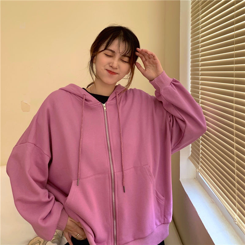 Summer 2021 Fashion Zip Up Cute Bear Sweetshirt Vintage Long Sleeve Spring Clothes Women Hoodies Coat Loose Harajuku Tops 14