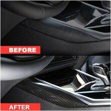Wooeight 2 pçs de fibra carbono interior do carro controle central lado adesivo decoração guarnição apto para bmw série 3 2020