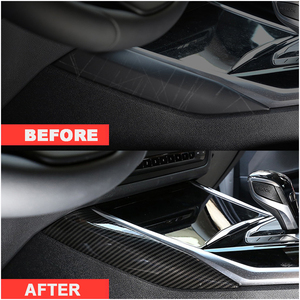 Image 1 - Wooeight 2Pcs Carbon Fiber Car Interior Central Control Side Sticker Decoration Trim Fit For BMW 3 Series 2020
