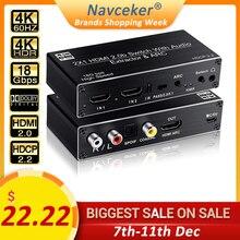 Navceker 2x1 HDMI 2,0 interruptor de 4K 60Hz HDMI soporte interruptor 3D Arco y óptico Toslink HDR conmutador interruptor HDMI 2,0 para PS3 PS4 Pro