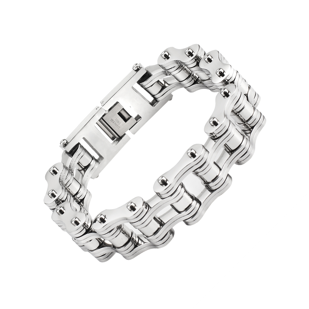 16mm Titanium Steel Motor Biker Bracelet For Men s Women s Punk Personality Stainless Silver color