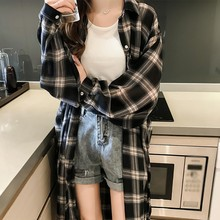 New Korean Women Plaid Shirts 2019 Casual Loose Long Sleeve Blouse Coat Fashion Lapel Single Breasted Sunscreen Women Long Shirt oblique plaid lapel single breasted mens shirt