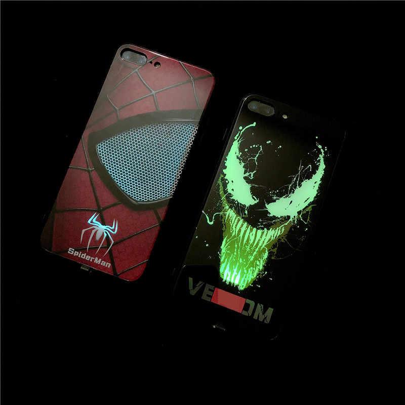 Spiderman Venom Call LED Light Case For iPhone 8 7 6 6S Plus X Cases Tempered q50
