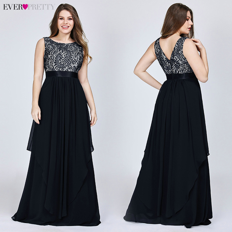 Image 2 - Plus Size Lace Bridesmaid Dresses Ever Pretty EP08217 A Line O Neck Sleeveless Elegant Chiffon Wedding Party Gowns VestidosBridesmaid Dresses   -