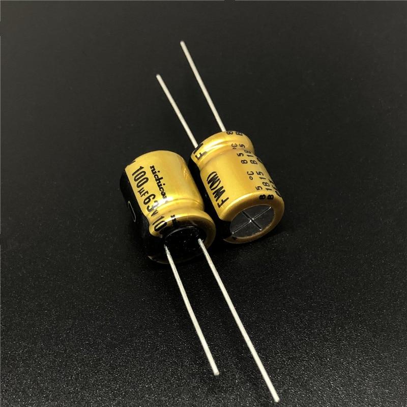 5pcs/50pcs 100uF 63V NICHICON FW Series 10x12.5mm 63V100uF HiFi Audio Capacitor