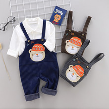 0-4 years High quality boy girl clothing set new spring cartoon casual kid suit children baby shirt+romper 2pcs 40