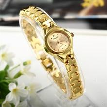 Reloj de pulsera de acero inoxidable dorado para mujer, pulsera femenina informal a la moda, con esfera analógica pequeña, elegante