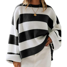 Oversized Casual Striped Sweater Women Winter 2019  Color Block Long Sleeve Loose Pullover Winter Knitted Ladies Jumper Tops casual striped color block dress