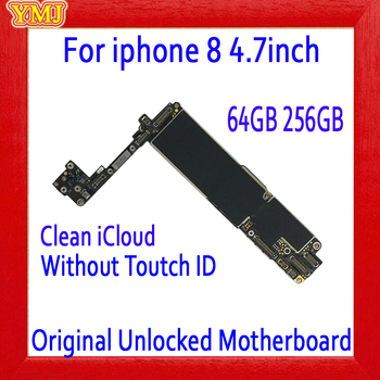 NO iCloud for iphone 8 Motherboard 64GB 256GB,100% Original unlocked for iphone 8 Logic board without Touch ID+Full chips