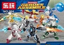 8Pcs Marvel Avengers 4 DC Super Heroes Iron Man Model Set Building Blocks Toys For Children цены онлайн