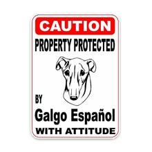 Voorzichtigheid Auto Sticker Eigendom Beschermd Door Galgo Espanol Hond Vinyl Window Rear End Zonnebrandcrème Waterdicht Decoratie Kk 15Cm * 11Cm