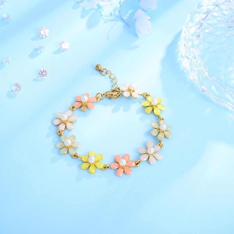 Shinland mujeres joyas de moda para novias flor Bohemia resina colorida pulseras y brazaletes de perlas simuladas para niños Gril regalo