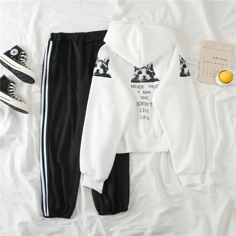 1031 # [Photo Shoot] Sports Casual WOMEN'S Suit Winter Students Brushed And Thick Hooded Two-Piece Set