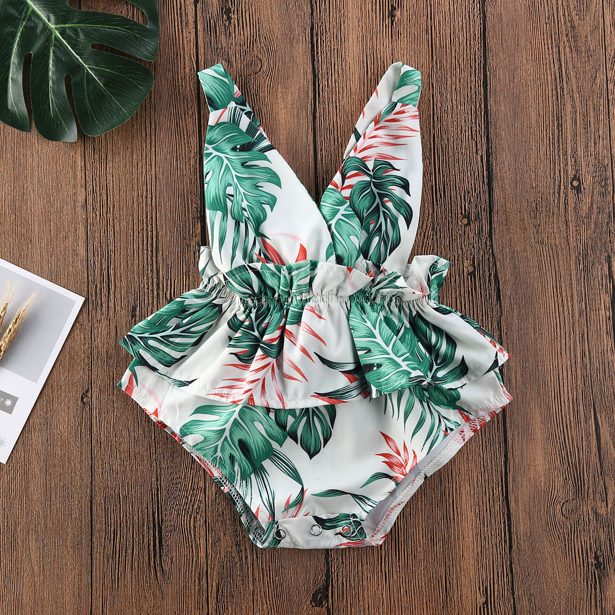 Baby Girls Summer Clothing Bodysuits Cotton Floral Print Jumpsuit For Newborn Girls Ruffle Cute Sleeveless Romper Outfits 0-18M