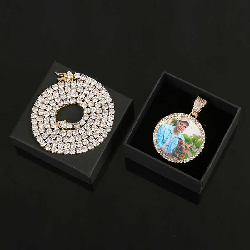 Горячие пользовательские фото индивидуальный кулон, ожерелье мужские хип хоп ювелирные изделия с 4 мм теннисная цепочка кубический циркон золотистый Серебристый с розой золото