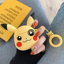 Untuk Airpods 2 Case Lucu Kartun Pikachu Earphone Cover untuk Udara Pods Case Bluetooth Headset Airpod Kasus Silikon Funda Airpods(China)