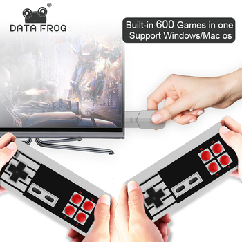 DATA FROG Retro Video Game Console Build In 600 Classic Games Mini 8 Bit Game Console Wireless Dual Handheld Gamepads TV OutPut