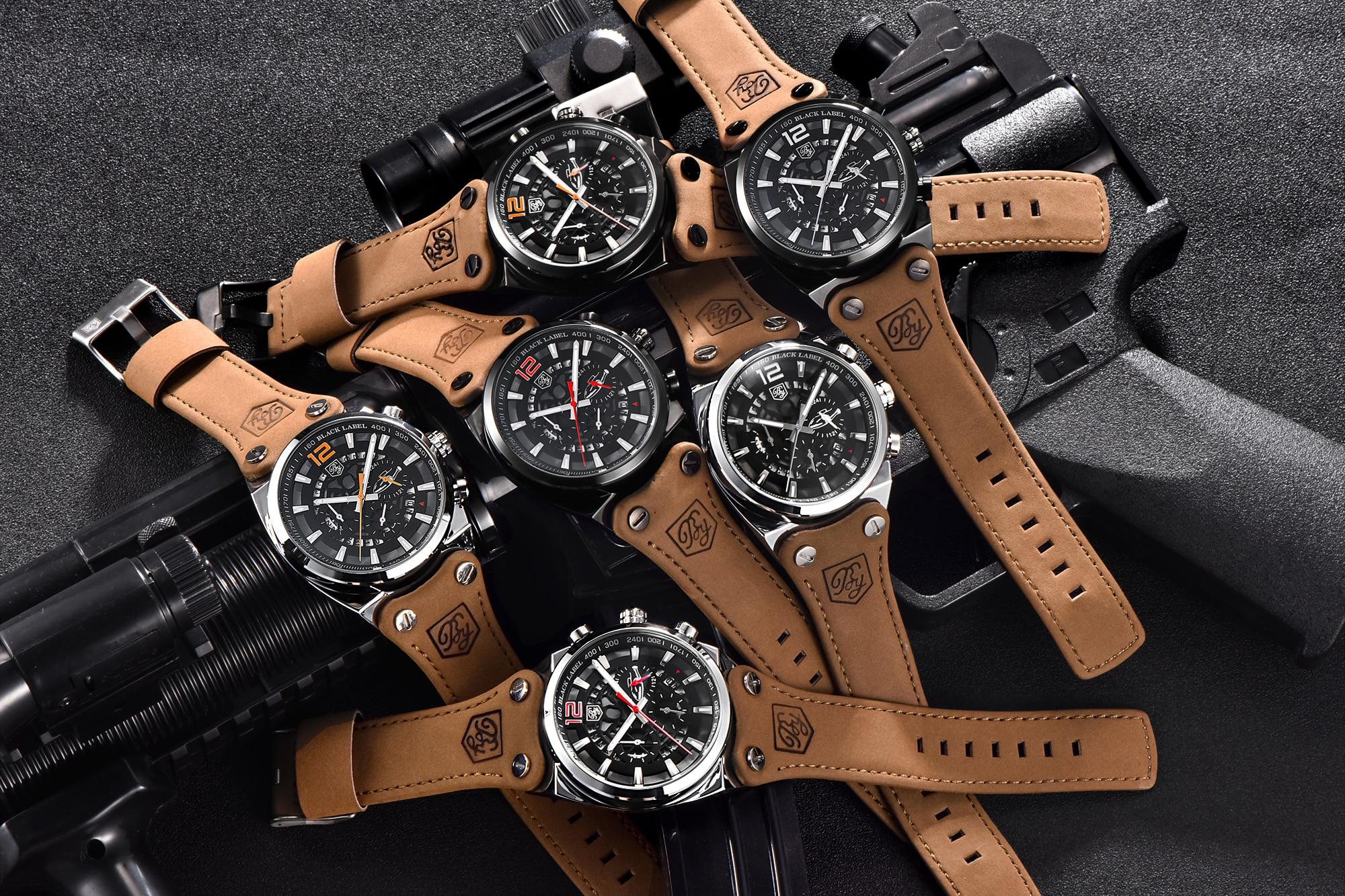 BENYAR Big Dial Sport Watch Men Waterproof Outdoor Military Chronograph Quartz Leather Watch Army Male Clock Relogio Masculino 3