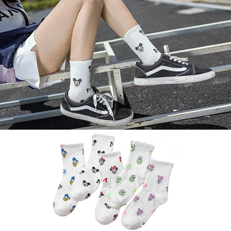 Женские носки с рисунками из мультфильмов, Длинные носки с Микки Маусом, забавные носки в стиле Харадзюку, Хлопковые женские повседневные носки в Корейском стиле с милой Мышкой