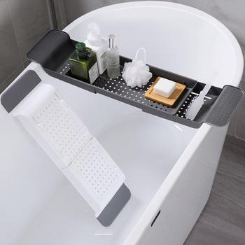 Wysuwana wanna regał magazynowy półka na wannę plastikowa skalowalna półka odpływowa wielofunkcyjny organizator do ręczników półka narzędzia łazienkowe tanie i dobre opinie CN (pochodzenie) Bathtub Storage Rack Bath Tray Shelf Kitchen Sink Drain Holder Bathroom Tools Makeup Towel Organizer Bathtub Shelf