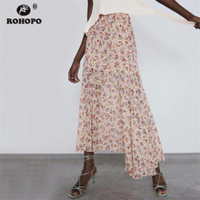 ROHOPO Double Layers Women Pink Pleated Printed Midi Skirt High Waist Ruffles Floral Chic Holiday Falda #443