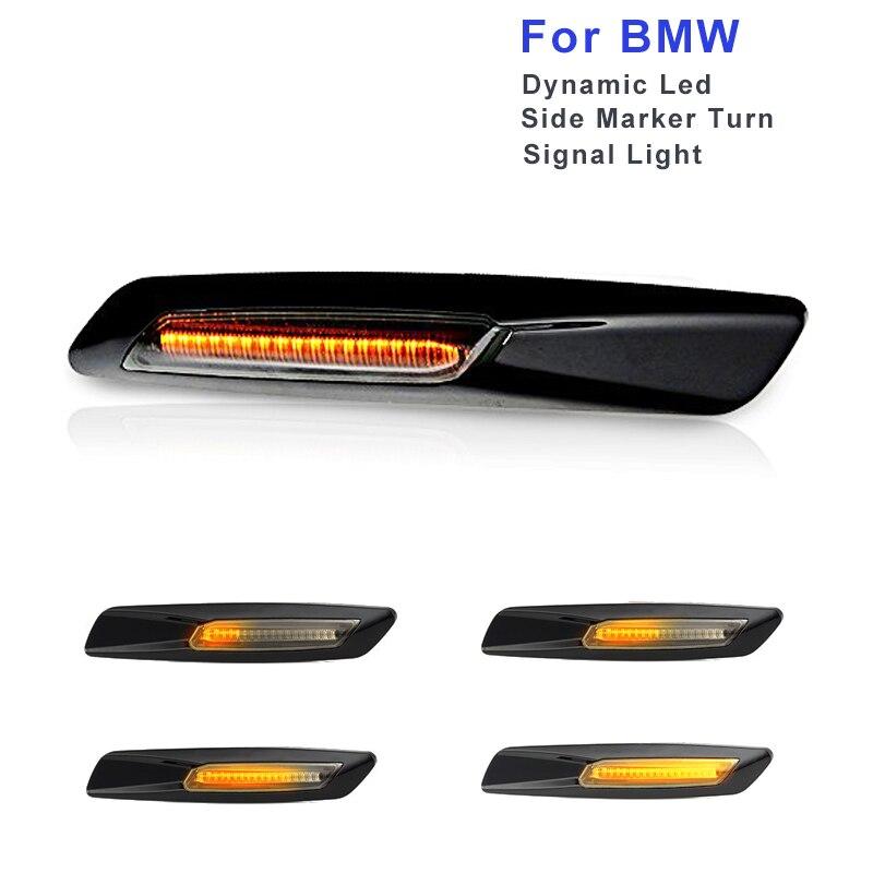 2 X Dynamic LED Fender Side Marker Turn Signal Light F10 Style For BMW E60 E61 E81 E82 E88 E90 E91 E92 E93 Amber