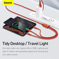Baseus 3 in 1 USB Type C Cable for Xiaomi Samsung 5A Fast Charging Data Cable for iPhone 12 13 Pro Samsung Xiaomi Phone Charger Micro USB C Cable