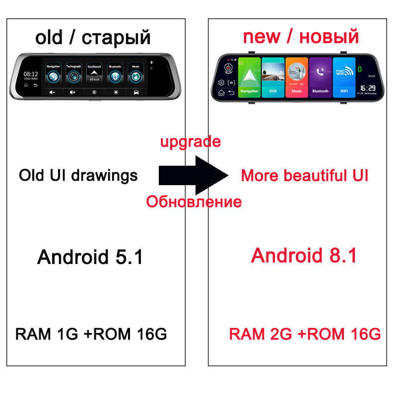 "Jiluxing 10 ""4G Android 8.1 tableau de bord RAM 2G ROM 16G GPS Navigation voiture dvr miroir caméra ADAS enregistreur vidéo WIFI Bluetooth"
