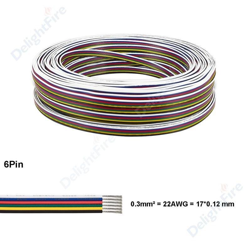 de cobre elétrico 6pin fio para 5050rgb + cct tira led driver