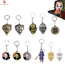 NEW DC Movie Batman Joaquin Phoenix Joker Keychain Jack Napier Figure Pendant metal Car Keyring Chaveiro Men jewelry