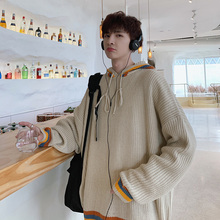 Winter New Sweater Men Warm Fashion Contrast Color Casual Hooded Knit Pullover Man Streetwear Wild Loose Long-sleeved