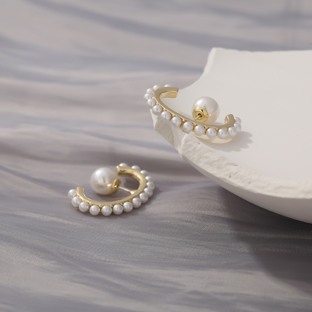 Yhpup Korean Fashion Imitation Pearls Stud Earrings Sweet Romantic Simple Jewelry Gold Color Trendy Earrings Brincos Gift 2020