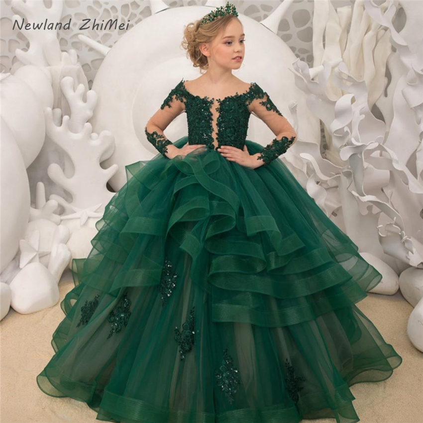 Dark Green Flower Girl Dresses New Arrival Beaded Applique Lace Long Sleeves Ball Gown Communion Dress Pageant Dresses for Girls(China)