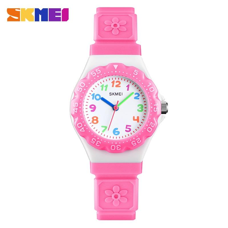 SKMEI Flower Design Fashion Dial Children Watches Luxury Quartz Analog Wristwatches 1483 Fashion Girl Gift Kids Montre