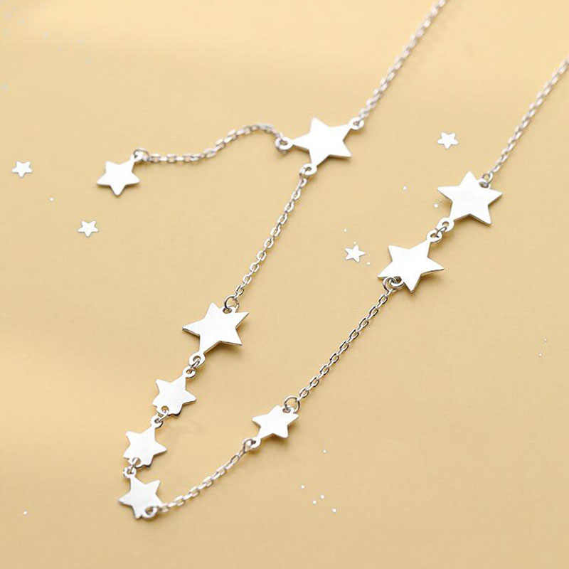 Anenjery Pribadi Multi Bintang Kalung Cantik 25 Sterling Silver Rantai Pendek Kalung untuk Wanita Collares S-N469
